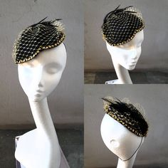Excited to share the latest addition to my #etsy shop: Gold Black Felt Fascinator with Veiling Feathers Paillettes Glitter Christmas Xmas Gift for Her Cocktail Hat Occasion Hat Evening Hat JCN http://etsy.me/2Avijr7 #bathandbeauty #gold #newyears #black #newyearseve #headpiece #c