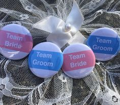 Team Bride & Team Groom, Muffin ink Wedding badges