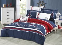 nautical bedding | Blue, red and white bedding