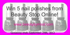 Beauty Stop Online has kindly offered 5 nail polishes for this giveaway. What is best about it is that the winner can pick the 5 polishes she likes.