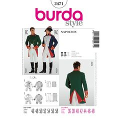 Find a pattern for Burda Style, Napoleon at Simplicity, plus many more unique patterns. Burda Sewing Patterns, Costume Patterns, Simplicity Sewing Patterns, Doll Clothes Patterns, Clothing Patterns, Napoleon, Pattern Pictures, Historical Clothing, Pattern Fashion