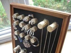 """Posted by crafter Ann Ross   of Fairview Park, OH on """"Crafts For All Seasons"""": the Wine Cork Jewelry Display.   What a beautiful way to repurpose those wine bottle corks!"""