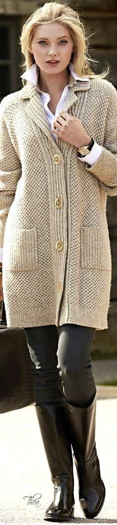 Elsa Hosk ~ Neutral Knit Long Sweater: