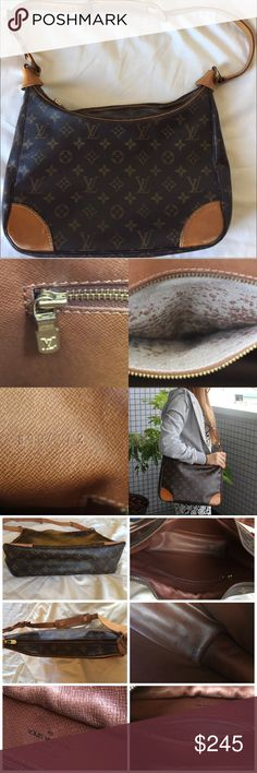 """AUTHENTIC LOUIS VUITTON BOULOGNE 30 SHOULDER BAG Pre-Owned Authentic LV Boulogne 30 Shoulder bag Monogram Canvas Leather Overall still ok conditions, No any rip/tear Outside: Dirt,Shapeless,Leather is scratches/stains/rubbing/crack Inside: slightly Ink stains,scratches wrinkle, zipper pocket has peeling and sticky  Size: L11.8"""" x H7""""x D3.5""""(inch) Shoulder drop: 20.8"""" - 28.7"""" (inch) Date code: 8902 A2 Made in France  No have dust bag Come from smoke and pets free home !Last Price! Price are…"""