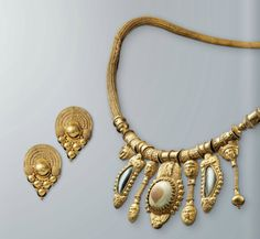 Necklace with mythological figures and agates, Etruscan, ca. 500 B.C.