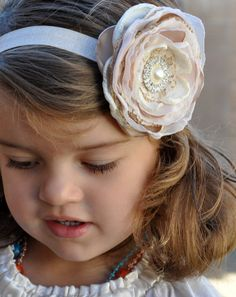 Burlap Lace Flower Headband Ivory Blush by PixiePetalsHandmade