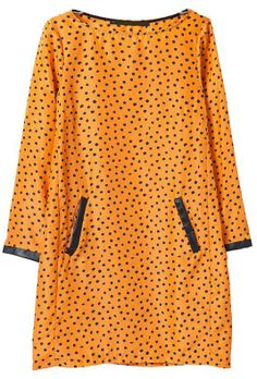 Yellow Long Sleeve Polka Dot Contrast PU Leather Dress EUR€18.46