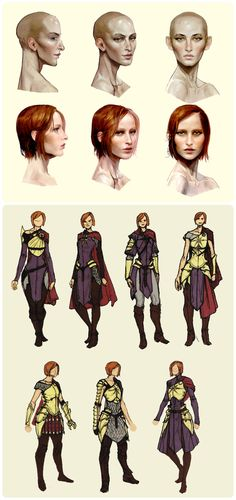 """Leliana concept art in """"The Art of Dragon Age: Inquisition""""- i think that last set of armor couldve been used for the ballroom scene."""