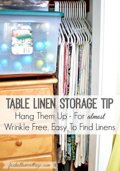 Hanging Table Linen Tip: Tablecloth Storage Solution and More Home Decor Organizing Ideas
