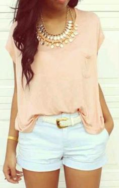 pink chiffon shirt with gold necklace and white shorts
