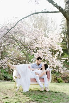 High Park #couple #bloom #nature #outdoors #portrait #couch #ideas #love #spring #happy #white #gown #smile