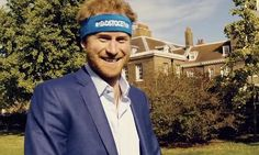 Nice headband your highness! Prince Harry dons appropriate headgear to call on London Marathon runners to back mental health charity | Daily Mail Online