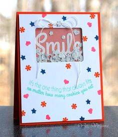 Squeal! Most awesome shaker ever from Virginia using Sassy Smiles and Fun-Fetti Fri-Dies! www.cas-ualfridaysstamps.com  #casfridays #cards