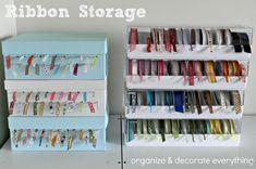 Many Ribbon Storage ideas. #organize #organization #ribbon