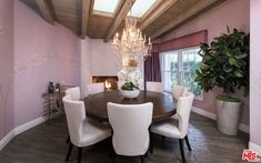 Kyle Richards' Bel Air Home Still for Sale and for Rent Dining Chairs, Dining Table, Dining Rooms, Family Room, Home And Family, Cozy Den, Kyle Richards, Home Still, Stills For Sale