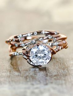 The Daya Engagement ring with the Selene wedding band in rose gold. Option 2