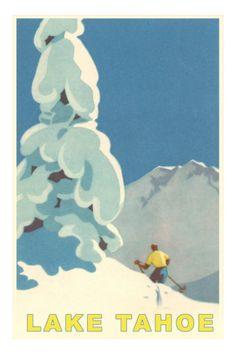 Ski Montana, Snow on Pine Tree Art Print Vintage Ski Posters, Cool Posters, Travel Posters, Sports Posters, Travel Ads, Retro Posters, Retro Ads, Party Vintage, Vintage Art