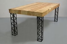 Welded Furniture, Cafe Furniture, Barrel Furniture, Iron Furniture, Steel Furniture, Furniture Design, Wooden Dining Tables, Dining Table Design, Coffee Table Design