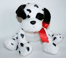Animal Adventure white black spot dalmatian puppy dog plush stuffed red bow 2013
