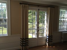 Our new custom curtain panels with bias banding.  Sewn by @Louise Vekos Designs