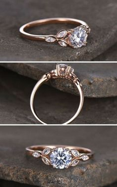 Sterling silver ring/Round cut Cubic Zirconia engagement ring/CZ wedding ring/Three flower marquise/promise ring/Xmas gift/Rose gold plated #affiliate #weddings #rings #weddingring #promiserings #uniqueengagementrings