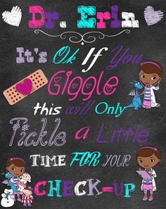 Doc McStuffins Chalkboard Room Art by NaVellaPartyBoutique on Etsy, $20.00