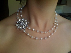 Wedding, Jewelry, Pearl, Necklace, With, Accent, Side