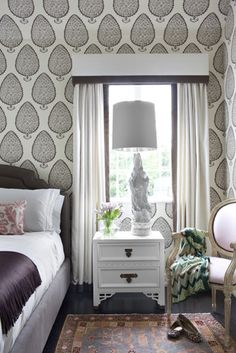 Beautiful graphic wallpaper in bedroom Matters of Style: Betsy Burnham in Beverly Hills