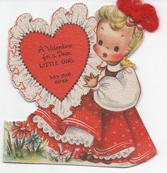 1949 Unused Valentine, Little Girl, real yarn tie in hair. Great shape by VintageNEJunk on Etsy