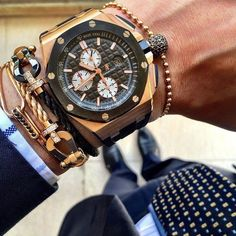 Men have watches. Bracelets for all and a shoe addiction never hurt. tip to top with everything ready. Cool Watches, Rolex Watches, Gentleman Watch, Audemars Piguet Watches, Herren Outfit, Luxury Watches For Men, Fashion Watches, Bracelet Watch, Bronze