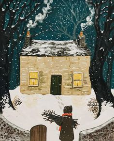 First Snow ❄️ Winter Illustration, Christmas Illustration, Illustration Art, Adorable Petite Fille, Guache, Winter House, Gouache Painting, Illustrations, Whimsical Art