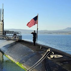 Navy sub with flag