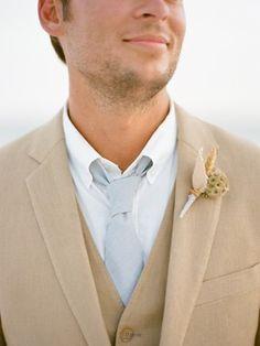 Here comes the groom. #seashell #boutonniere #beachweddings #beach #beachbride