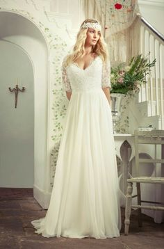 I love the simple cut with lace sleeves, perfect for someone busty looking for a more modest look
