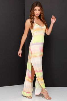 8a61a9c0f3cb2 O Neill Kaya Peach and Chartreuse Tie-Dye Maxi Dress