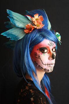 pink red around the temple Custom Wig- Coco Coquette http://sugarskullcostume.com/sugar-skull-makeup-tutorial-kits/