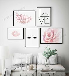 Room Ideas Bedroom, Room Wall Decor, Gallery Wall Bedroom, Pink Bedroom Decor, Pictures For Bedroom Walls, Wall Decor Frames, Wall Art For Bedroom, Pink Bedroom Walls, Blush Pink Bedroom