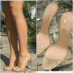 Cheap shoes sexy, Buy Quality sandals fringe directly from China shoe rack shoe shop Suppliers: PVC Clear Sandals Wmen Chunky High Heels 2017 Fashion Shoes Celebrity Wearing Transparent High Heel Sandals Custom Colors High Heels 2016, Hot High Heels, Clear High Heels, Woman Shoes High Heels, Cute Shoes, Women's Shoes, Me Too Shoes, Fall Shoes, Shoes Style
