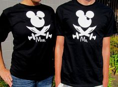 Pirate Mickey Mouse Bride and Groom T-Shirts  - Mr and Mrs Personalized T-Shirts - Disney Wedding T-Shirts