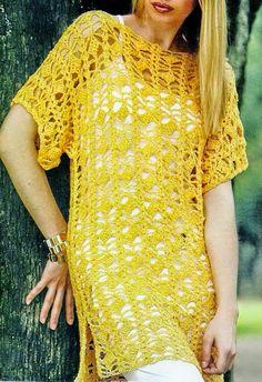 Horgolás minták: Sárga tunika