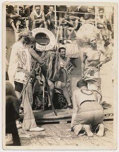 King Neptune Sailor Men in Drag Costumes Vtg Hazing Photo