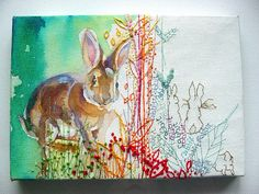 more mimiloveforever.love the way she paints and then embellishes with stitch. Stitch Drawing, Contemporary Embroidery, Thread Art, Forest Friends, Painting Inspiration, Art Lessons, Needlework, Illustration Art, Illustrations