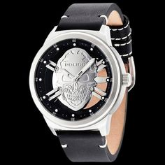 Police men s predator skull silver dial black leather watch 2bba2ee56f