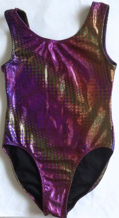 Satara Womens Teen Metallic Leotard Gymnastics Dance Ballet Size S Purple Gold #SataraLeos