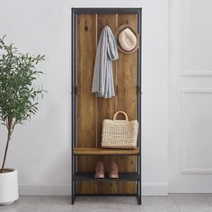 Narrow Hall Tree, Entryway Hall Tree, Hall Tree Bench, Iron Furniture, Furniture Deals, Living Room Furniture, Small Entry Bench, Rustic Toilets, Coat Storage
