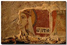 fresco of sant'agata, rock church of santa lucia alle malve - matera, italy