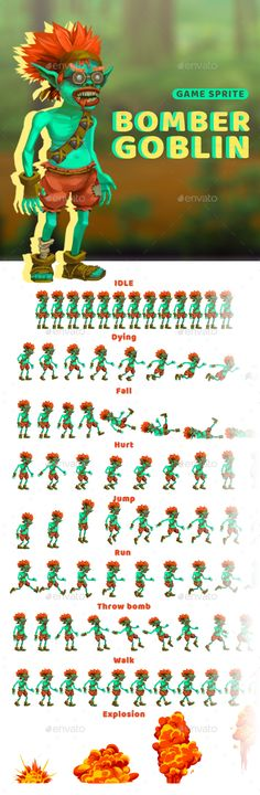 Bomber Goblin - Character Sprite - Sprites #Game Assets Download here: https://graphicriver.net/item/bomber-goblin-character-sprite/20199653?ref=alena994