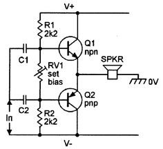 Basic class-AB amplifier with complementary emitter follower output and dual power supply.