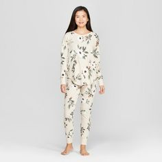 Women s Floral Print Thermal Pajama Set Cream L 0f497142e