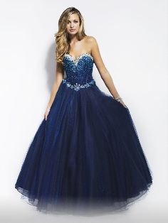 Strapless Sweetheart Sleeveless Dark Navy/Fuchsia Tulle Beading Floor Length Lace Up A-line Hot Long Prom Dress /Ball Gown LPD84796